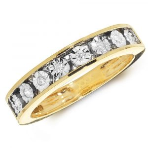 Diamond Illusion Set Eternity Ring in 9ct Yellow Gold (0.10ct)