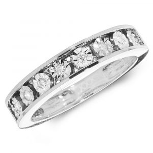 Diamond Illusion Set Eternity Ring in 9ct White Gold (0.10ct)