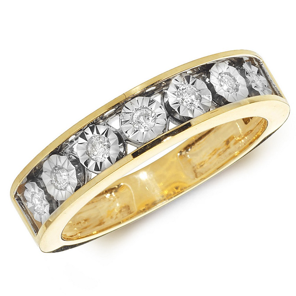 Diamond Illusion Set Eternity Ring in 9ct Yellow Gold (0.15ct)