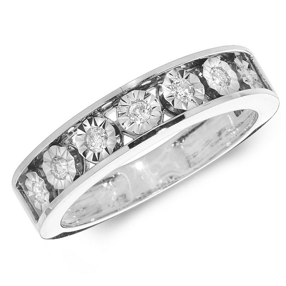 Diamond Illusion Set Eternity Ring in 9ct White Gold (0.15ct)