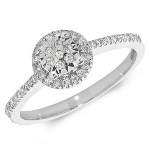 Halo Diamond Ring with Diamond Shoulders in 9ct White Gold (0.21ct)