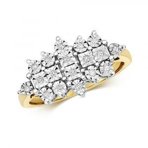 Diamond Illusion Set Cluster Ring in 9ct Yellow Gold (0.10ct)