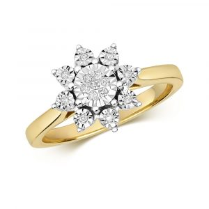 Flower Design Plate Set Diamond Ring in 9ct Yellow Gold (0.07ct)