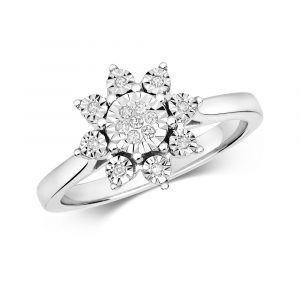 Flower Design Plate Set Diamond Ring in 9ct White Gold (0.07ct)