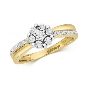 Illusion Set Diamond Cluster Ring with Diamond Shoulders 9ct Yellow Gold (0.09ct)