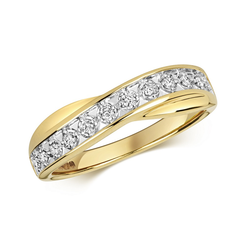 Crossover Diamond Ring/Band in 9ct Yellow Gold (0.25ct)