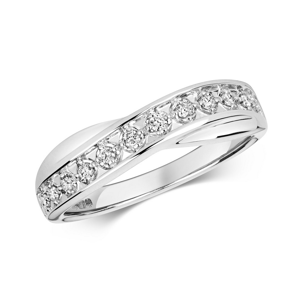 Crossover Diamond Ring/Band in 9ct White Gold (0.25ct)