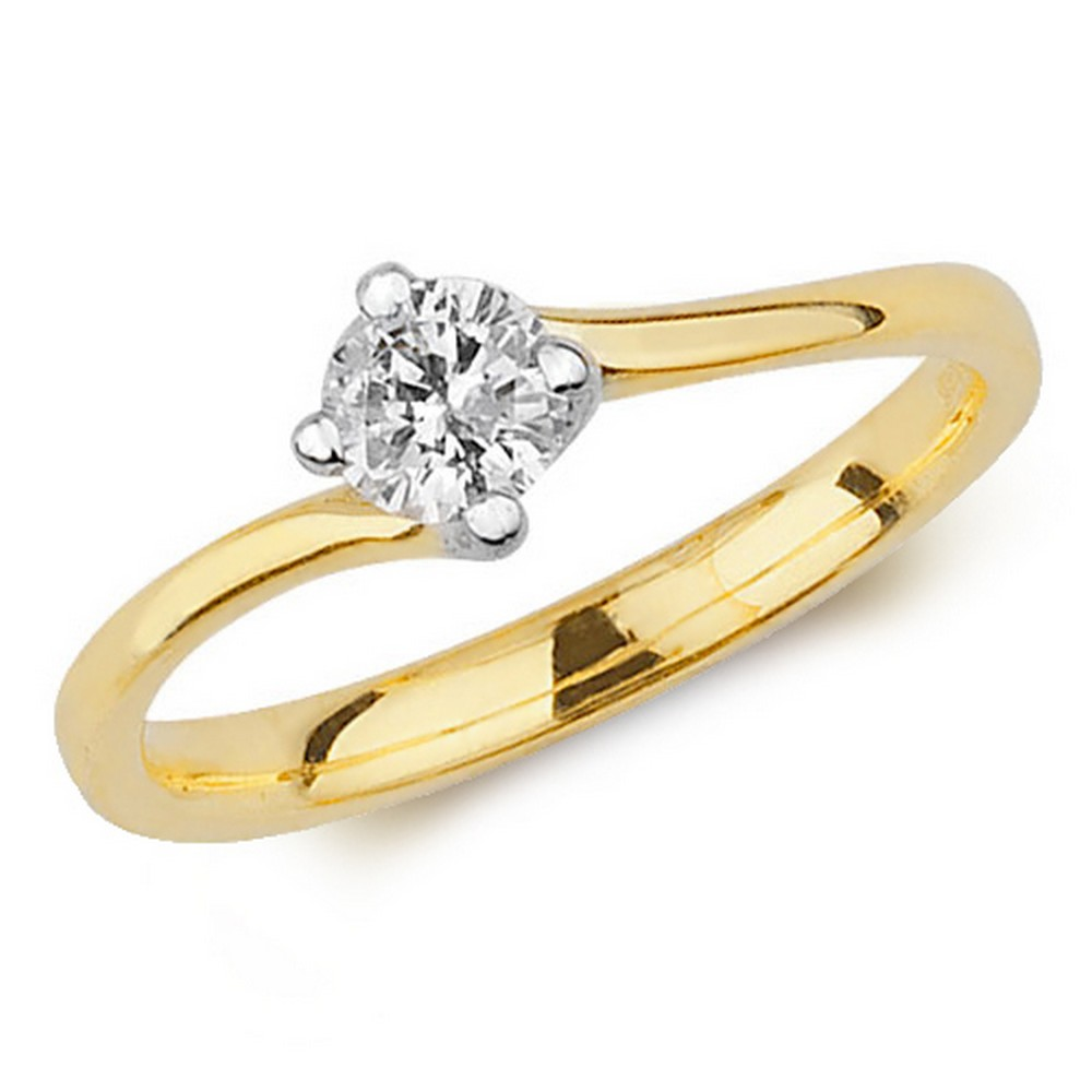 engagement ct gold cut set solitaire itm yellow bridal diamond round ring