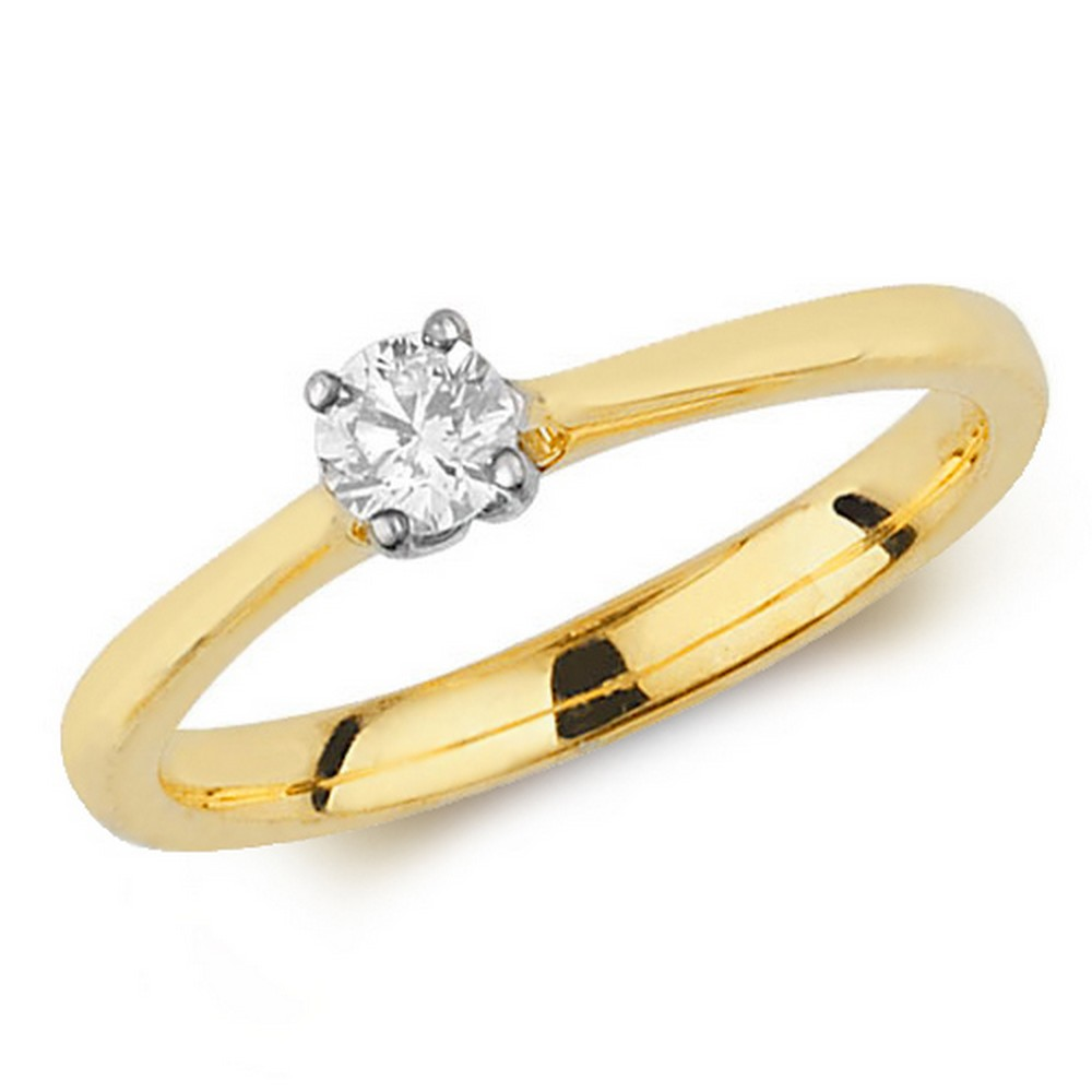 Diamond Four Claw Solitaire Diamond Ring in 9ct Yellow Gold (0.25ct)