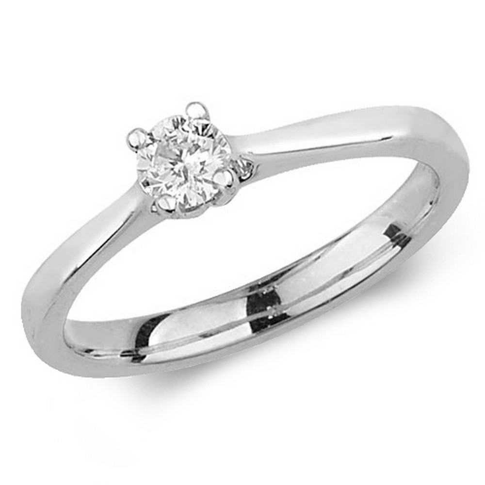 Diamond Four Claw Solitaire Diamond Ring in 9ct White Gold (0.25ct)