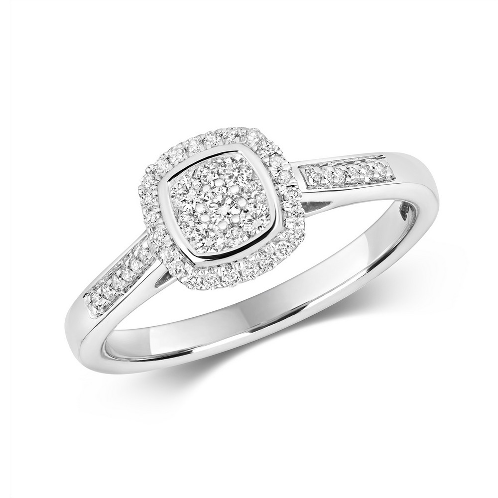 Cushion Shaped Diamond Cluster Ring with Diamond Shoulders in 9ct White Gold (0.25ct)