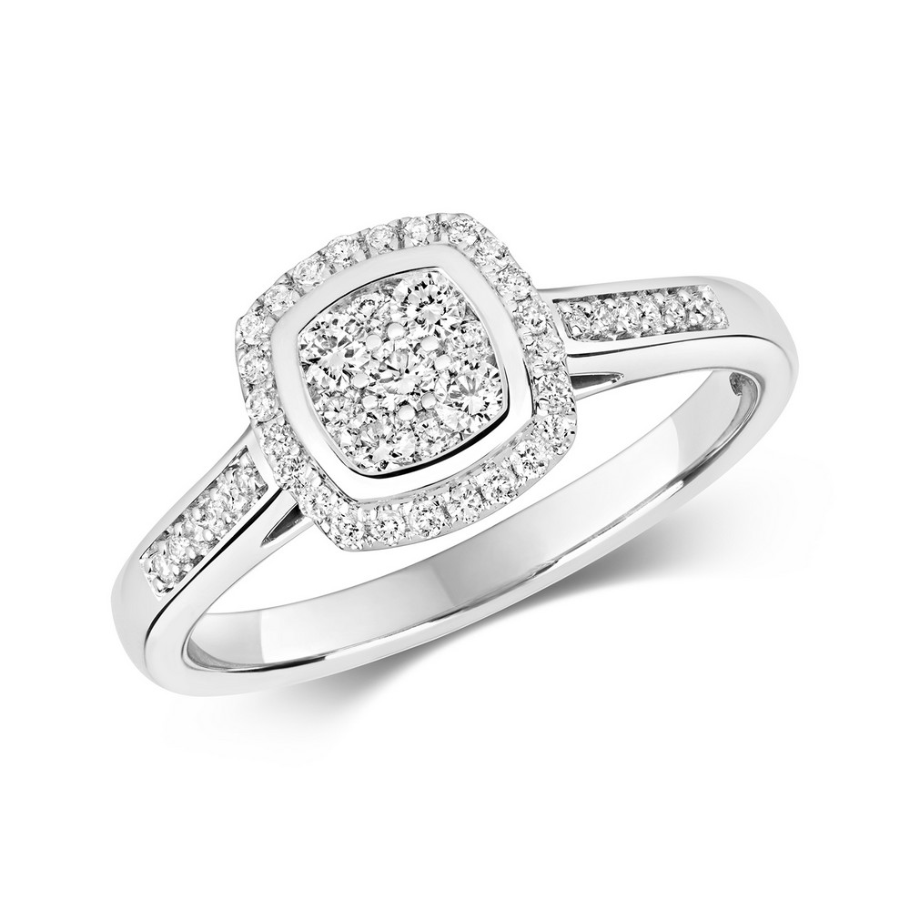Cushion Shaped Diamond Cluster Ring with Diamond Shoulders in 9ct White Gold (0.33ct)