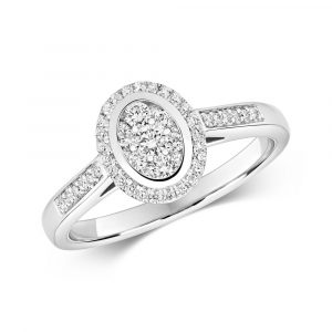 Oval Shaped Diamond Cluster Ring with Diamond Shoulders in 9ct White Gold (0.33ct)