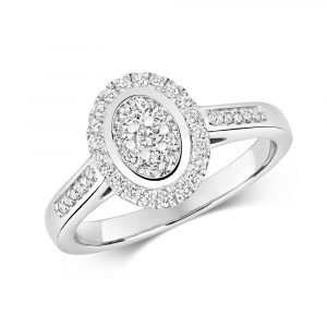 Oval Shaped Diamond Cluster Ring with Diamond Shoulders in 9ct White Gold (0.50ct)