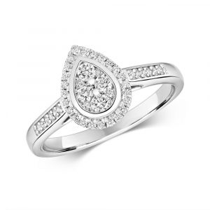 Pear Shaped Diamond Cluster Ring with Diamond Shoulders in 9ct White Gold (0.33ct)
