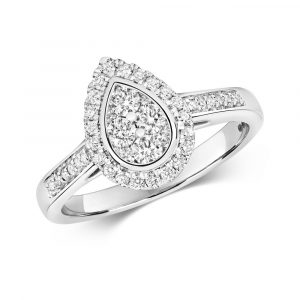 Pear Shaped Diamond Cluster Ring with Diamond Shoulders in 9ct White Gold (0.50ct)