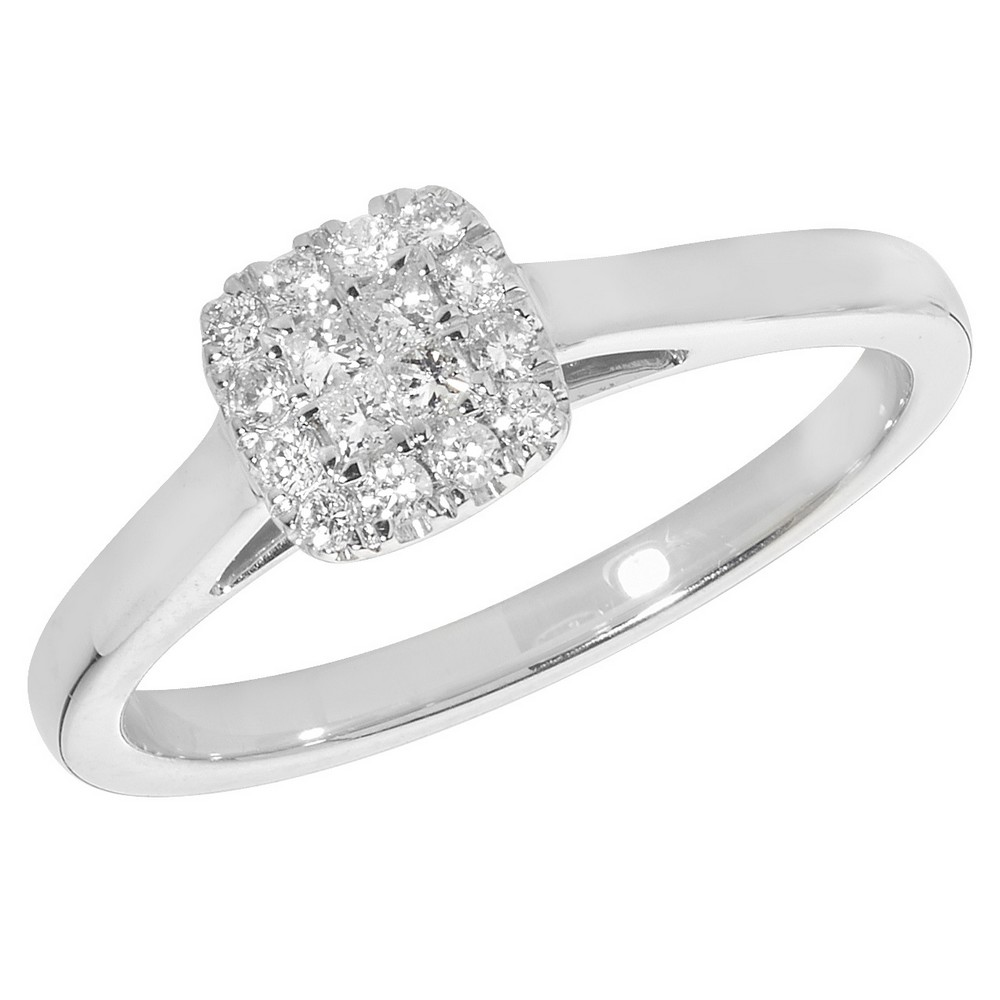 Diamond Cluster Ring Set with Princess Diamond Centre in 9ct White Gold (0.20ct)