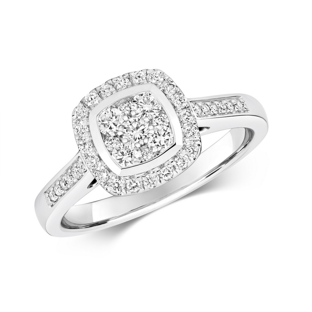 Cushion Shaped Diamond Cluster Ring with Diamond Shoulders in 9ct White Gold (0.50ct)