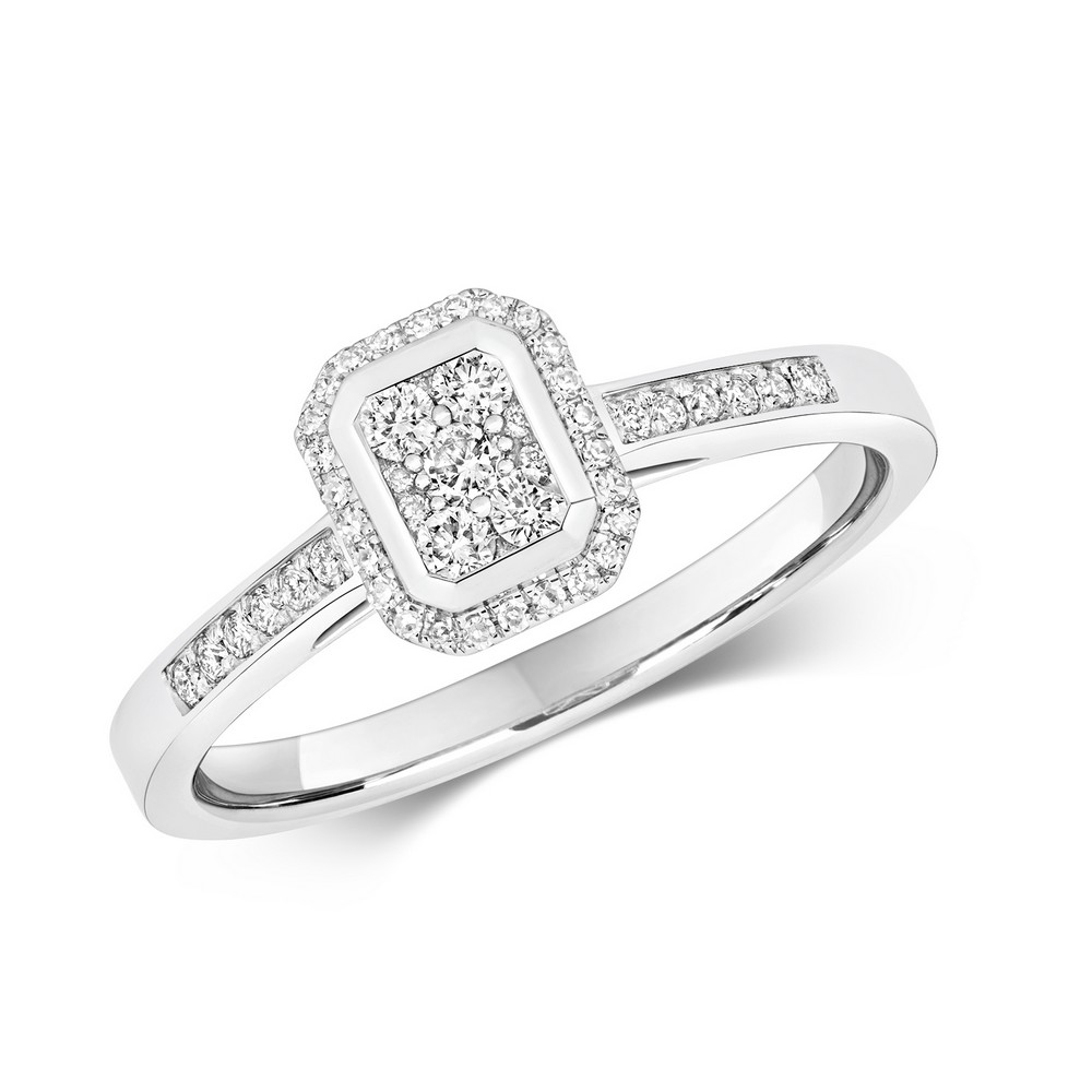Emerald Shaped Diamond Cluster Ring with Diamond Shoulders in 9ct White Gold (0.25ct)