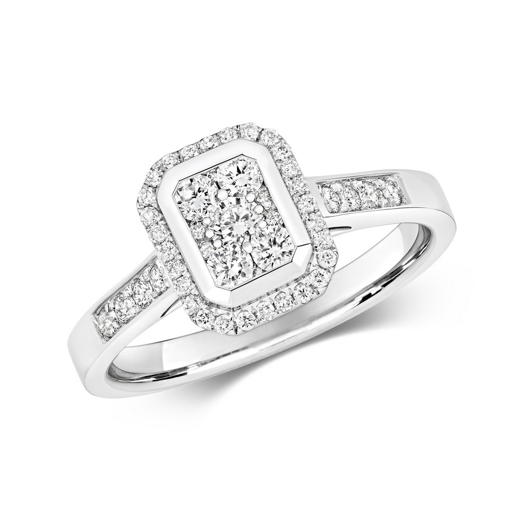 Emerald Shaped Diamond Cluster Ring with Diamond Shoulders in 9ct White Gold (0.50ct)