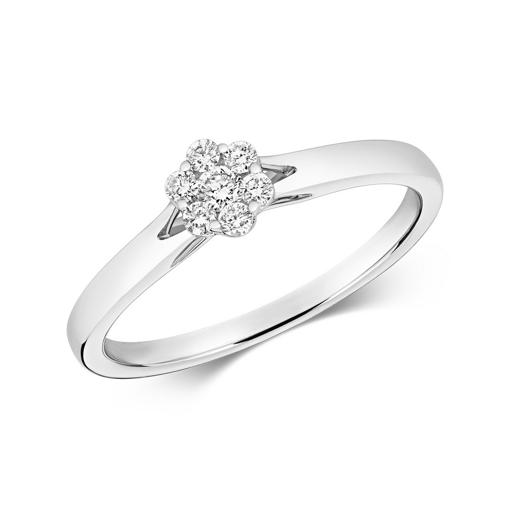 Dainty Diamond Cluster Ring in 9ct White Gold (0.15ct)