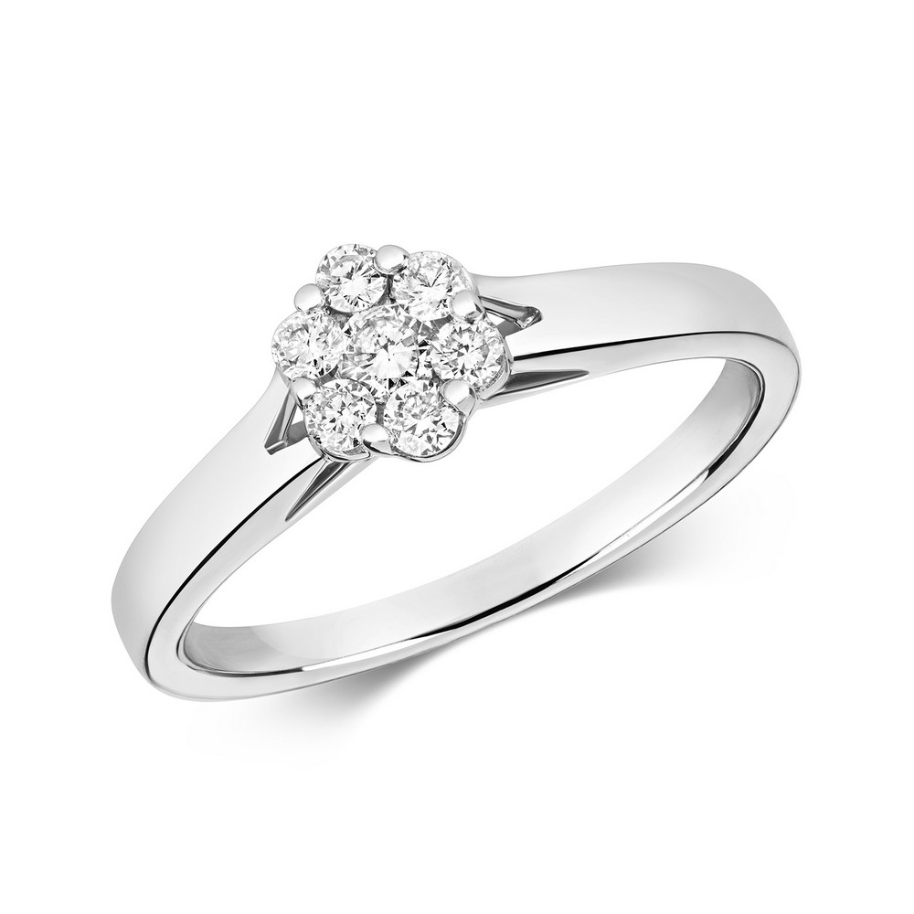 Dainty Diamond Cluster Ring in 9ct White Gold (0.25ct)