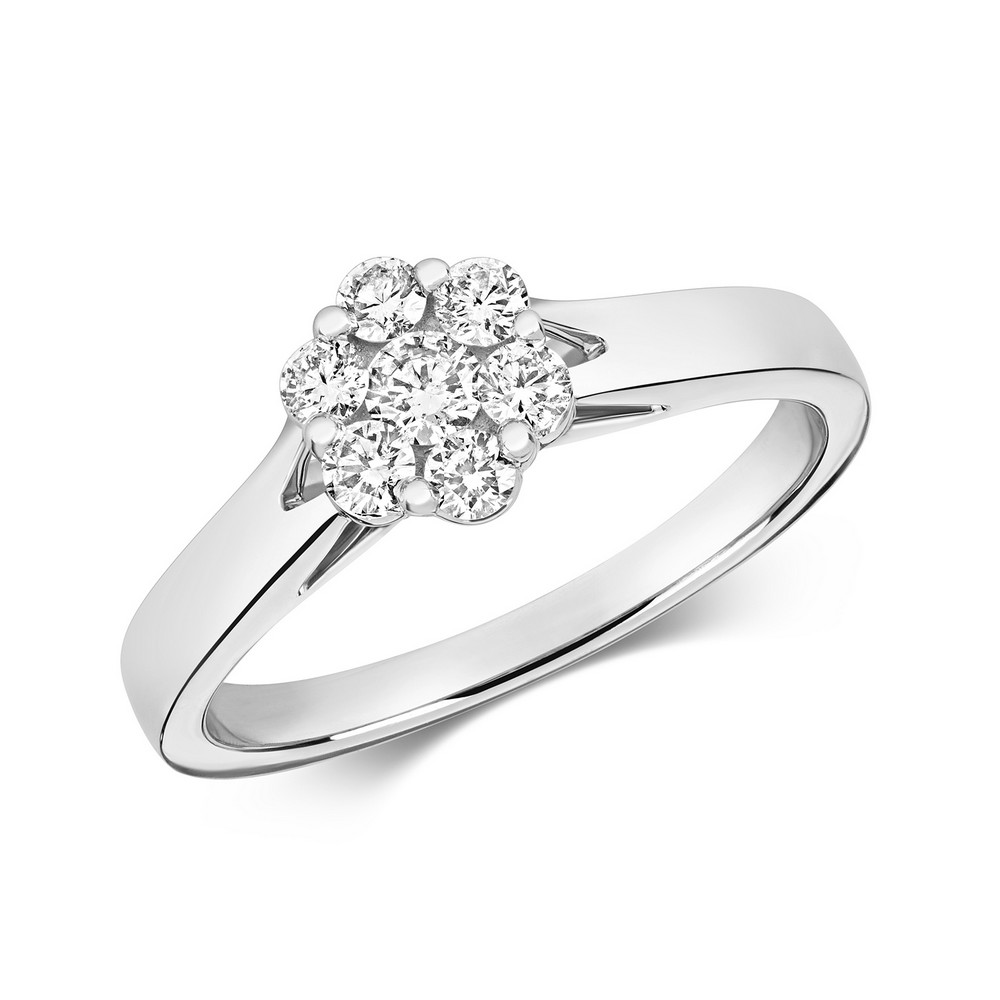 Dainty Diamond Cluster Ring in 9ct White Gold (0.35ct)