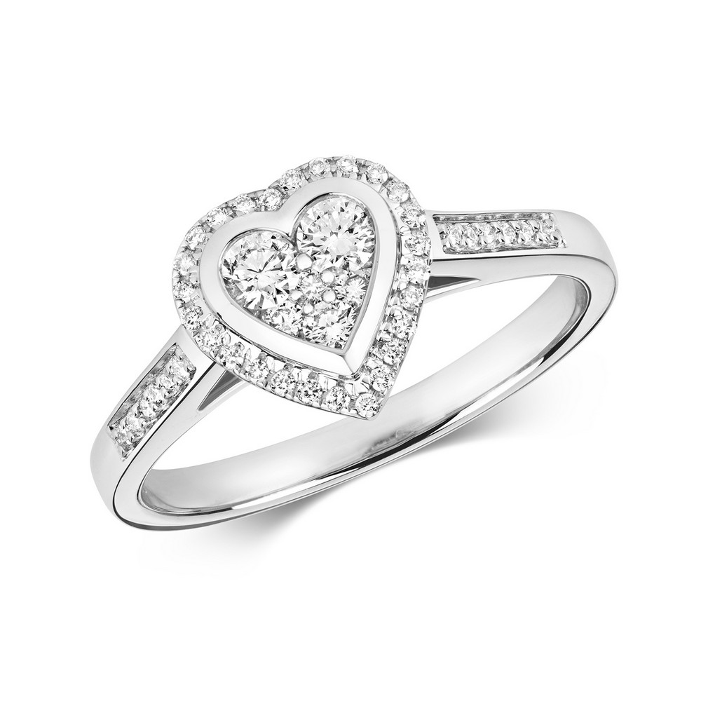 5306daead0bca Heart Shaped Diamond Cluster Ring with Diamond Shoulders in 9ct White Gold  (0.33ct)