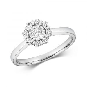 Flower Design Illusion Set Diamond Ring in 9ct White Gold (0.29ct)