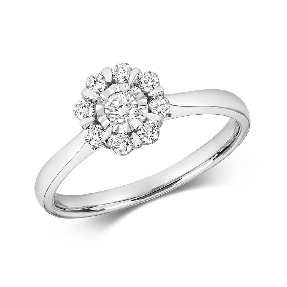 Flower Design Illusion Set Diamond Ring in 9ct White Gold (0.29ct)