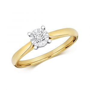 Diamond Illusion Solitaire Round Diamond Ring in 9ct Yellow Gold (0.06ct)