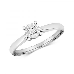 Diamond Illusion Solitaire Round Diamond Ring in 9ct White Gold (0.06ct)
