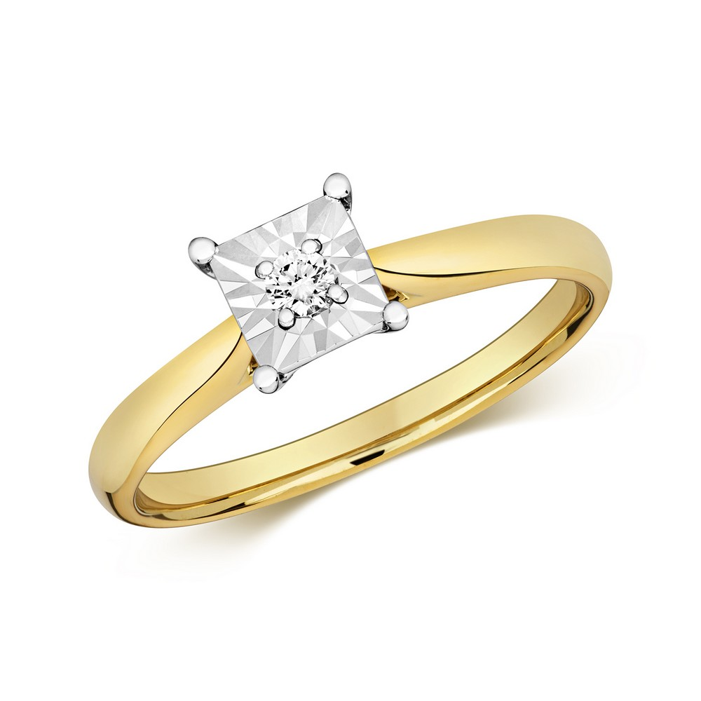 Diamond Illusion Solitaire Square Diamond Ring in 9ct Yellow Gold (0.06ct)