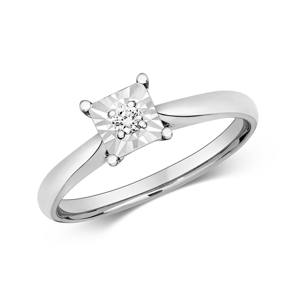 Diamond Illusion Solitaire Square Diamond Ring in 9ct White Gold (0.06ct)