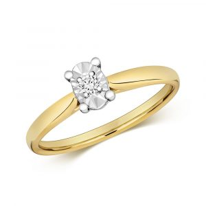 Diamond Illusion Solitaire Oval Diamond Ring in 9ct Yellow Gold (0.06ct)