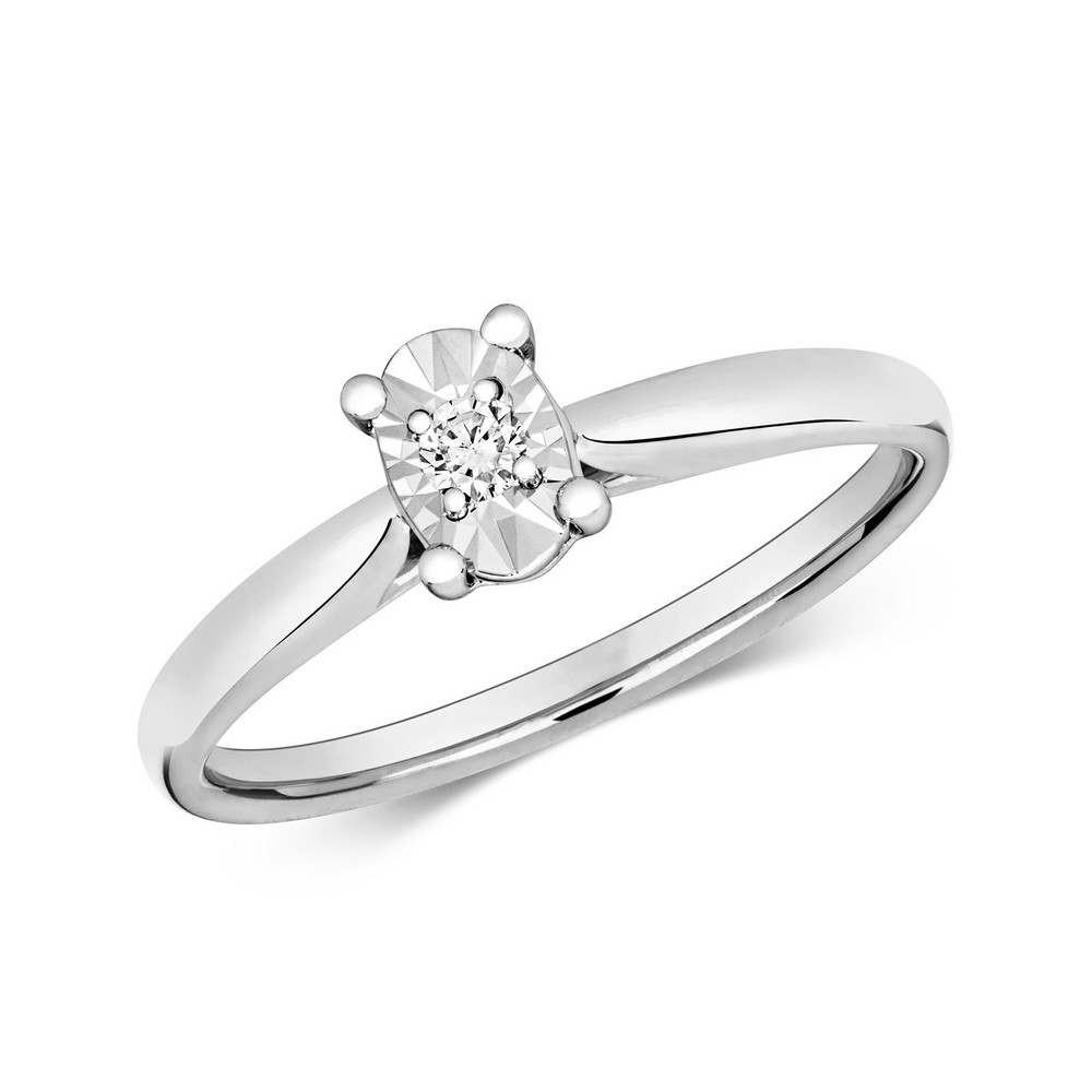 Diamond Illusion Solitaire Oval Diamond Ring in 9ct White Gold (0.06ct)