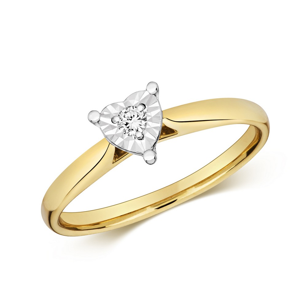 Diamond Illusion Solitaire Heart Diamond Ring in 9ct Yellow Gold (0.06ct)