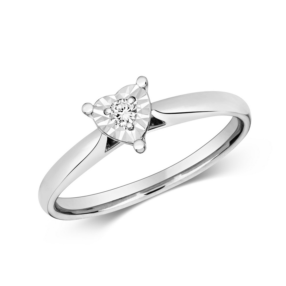 Diamond Illusion Solitaire Heart Diamond Ring in 9ct White Gold (0.06ct)