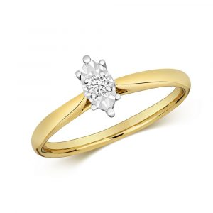 Diamond Illusion Solitaire Marquise Diamond Ring in 9ct Yellow Gold (0.06ct)