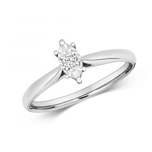 Diamond Illusion Solitaire Marquise Diamond Ring in 9ct White Gold (0.06ct)