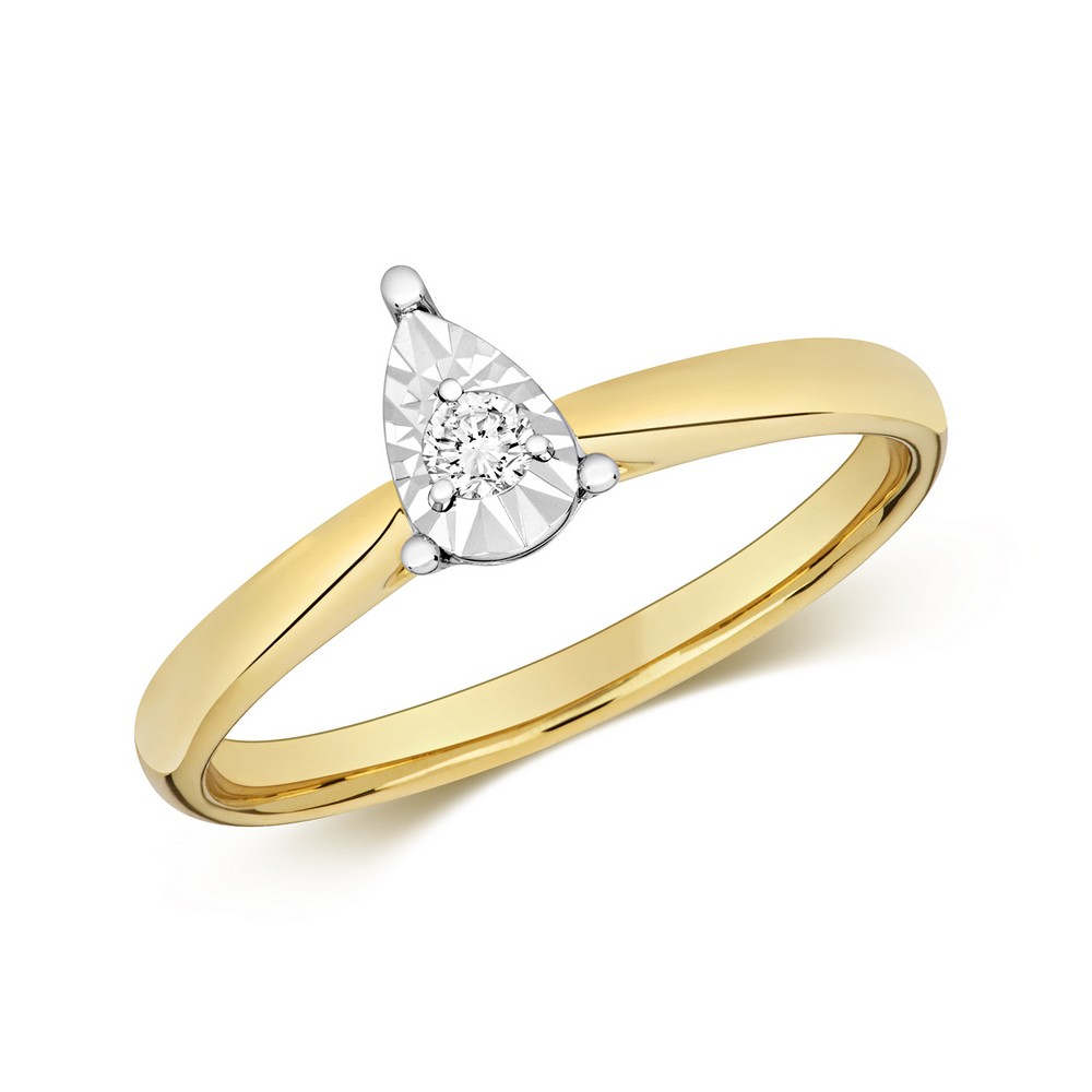 Diamond Illusion Solitaire Pear Diamond Ring in 9ct Yellow Gold (0.06ct)