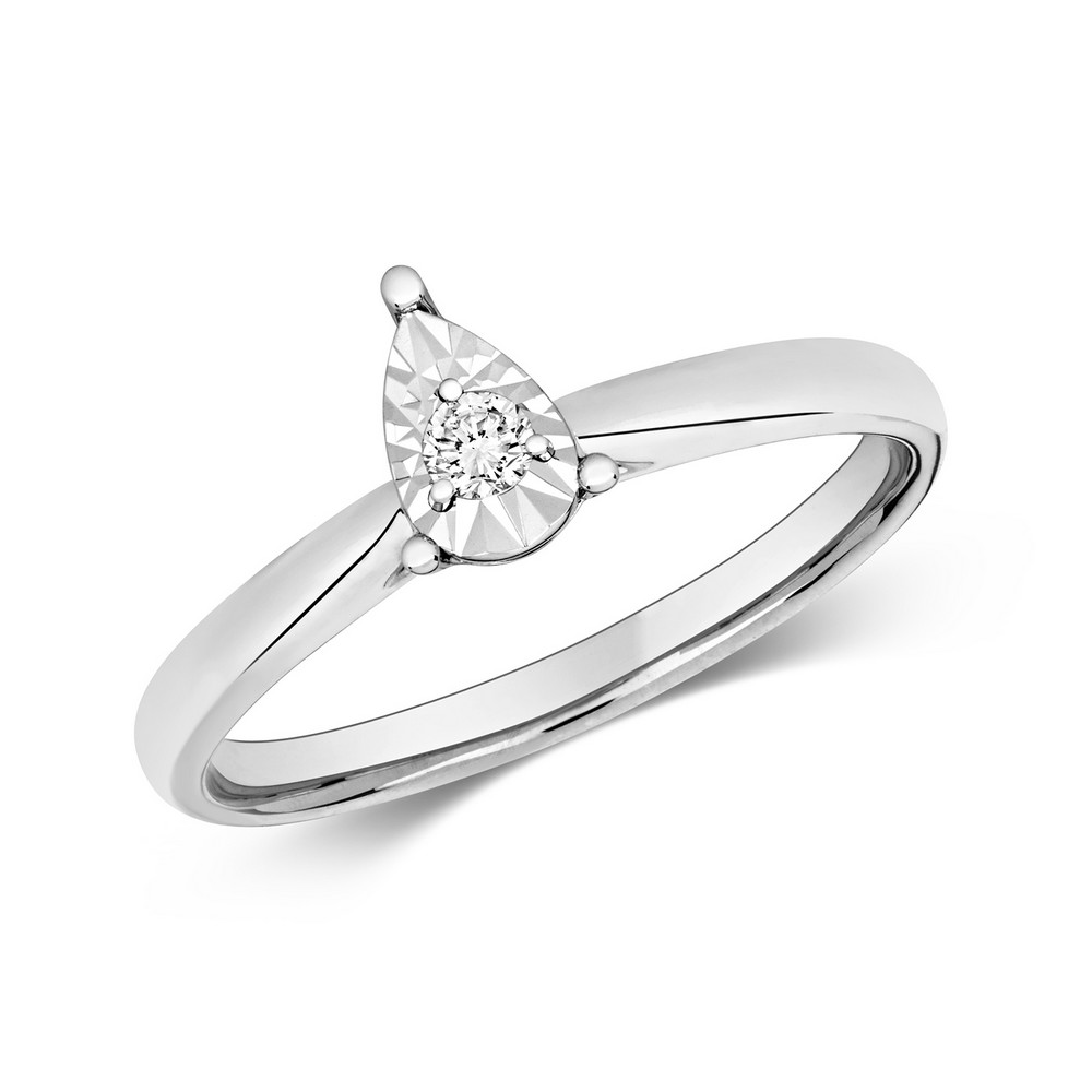 Diamond Illusion Solitaire Pear Diamond Ring in 9ct White Gold (0.06ct)