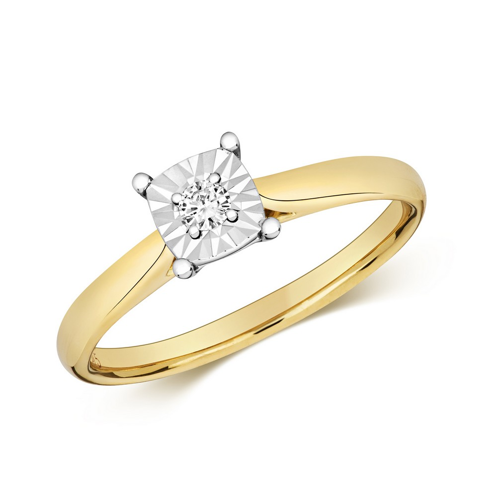 Diamond Illusion Solitaire Cushion Diamond Ring in 9ct Yellow Gold (0.06ct)