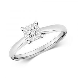 Diamond Illusion Solitaire Cushion Diamond Ring in 9ct White Gold (0.06ct)