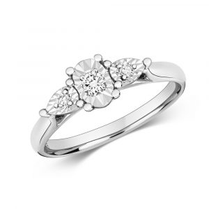 Diamond Illusion Three Stone Diamond Ring in 9ct White Gold (0.10ct)