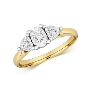 Diamond Illusion Three Stone Diamond Ring in 9ct Yellow Gold (0.10ct)