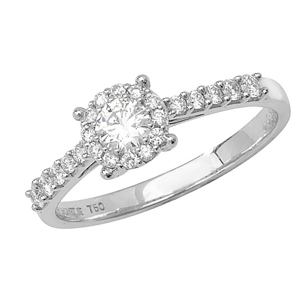Brilliant Round Diamond Ring with Diamond Shoulders in 18ct White Gold (0.50ct)