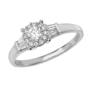 Brilliant Round Diamond Ring with Baguette Diamond Shoulders in 18ct White Gold (0.34ct)