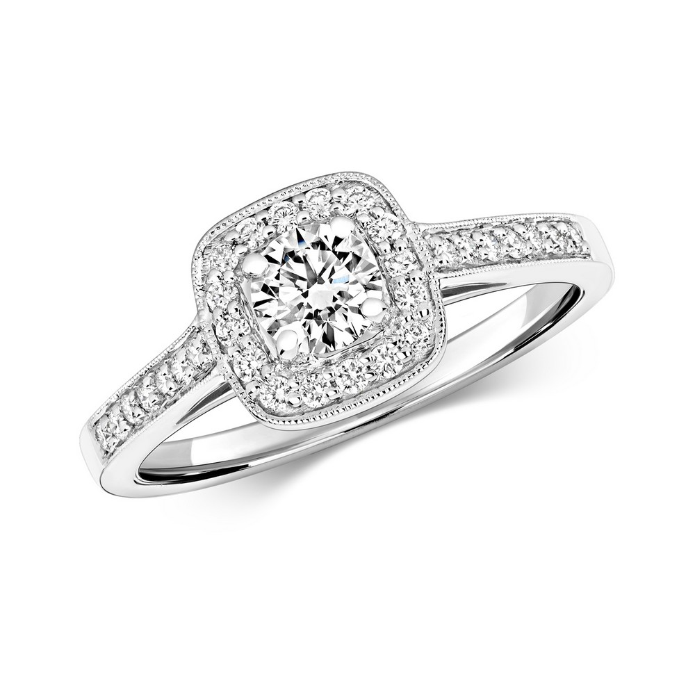 Diamond Cushion Halo Ring with Diamond Shoulders in 18ct White Gold (0.55ct)