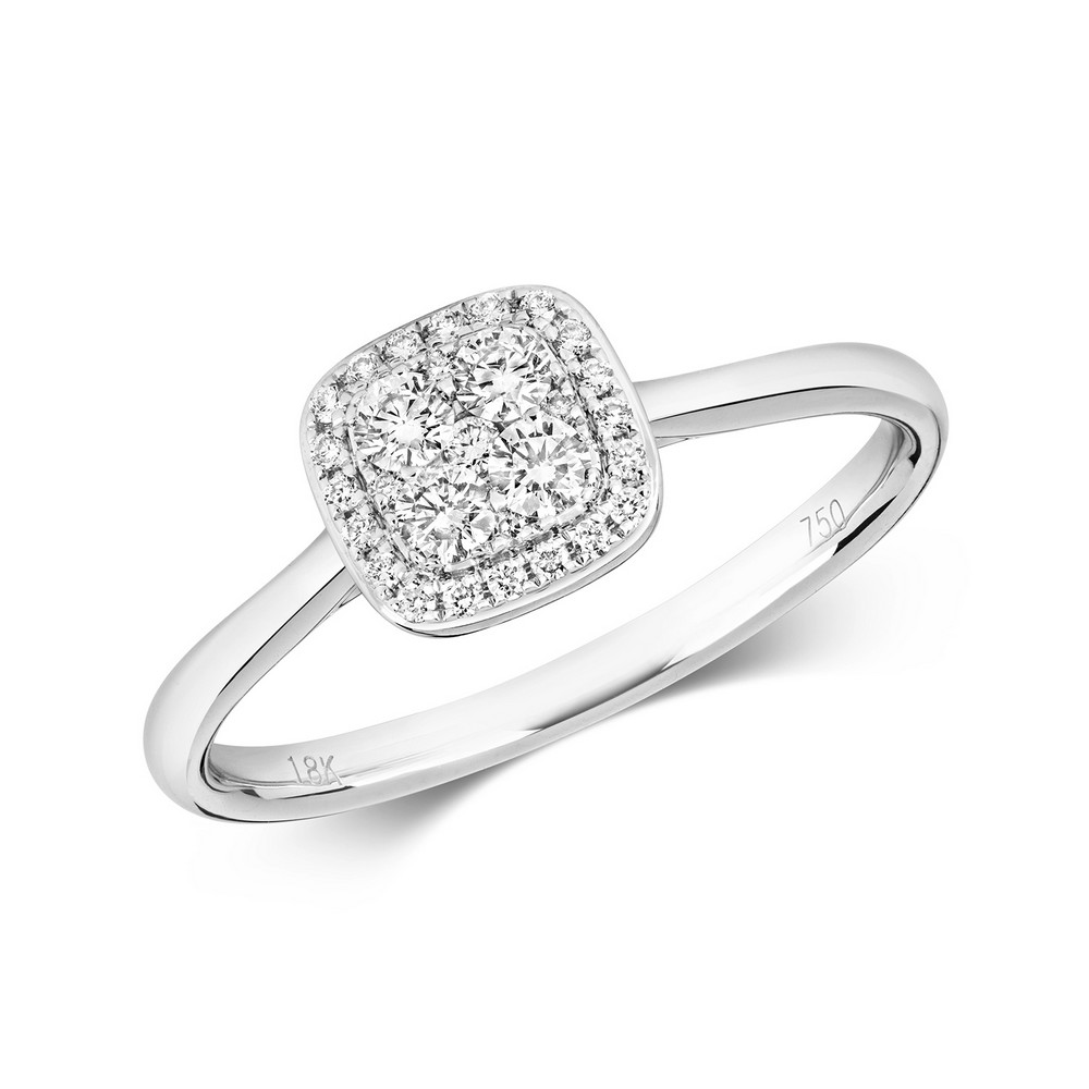 Diamond Cushion Shaped Cluster Ring in 18ct White Gold (0.26ct)